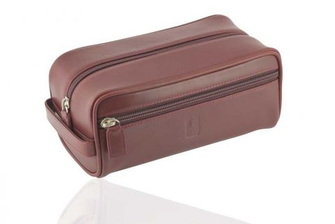 Leather Wash bag in Oxford