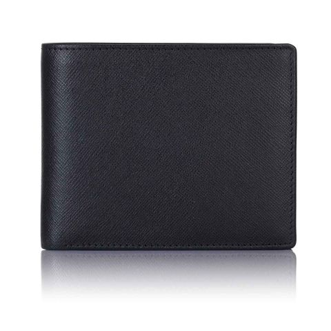 Black Saffiano leather trifold wallet