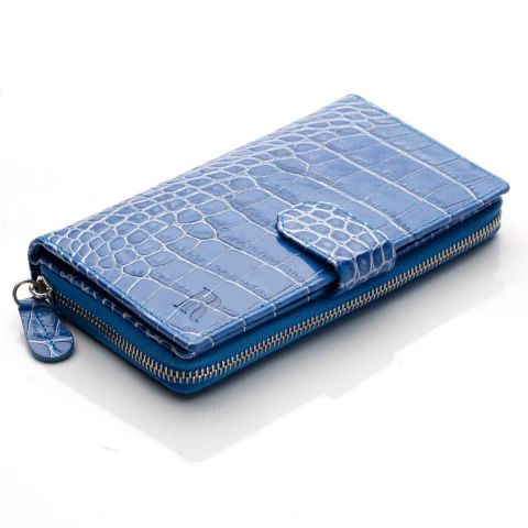 Blue Nile croco leather clutch wallet