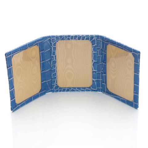 Blue Nile croco leather triple photo frame open