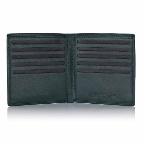 Green Label luxury leather credit card wallet open