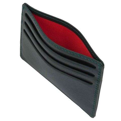 Green label luxury leather slim 6 card holder top