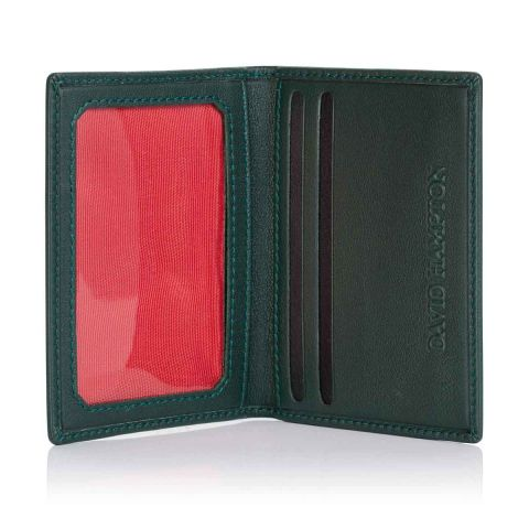 Green Label luxury leather travel card holder open