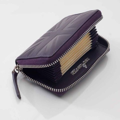 Leather accordion card case Britannia