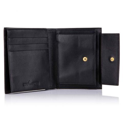 Black leather coin purse wallet open