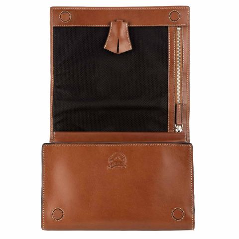 Livingstone leather hanging wash bag part open