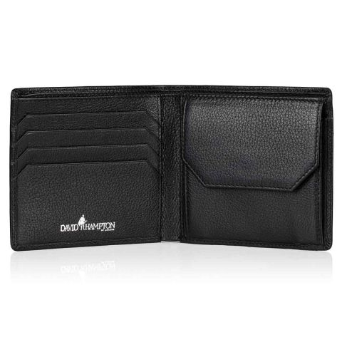 Malvern leather coin wallet open