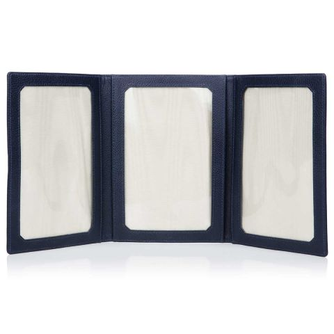 Malvern leather triple folding photo frame open