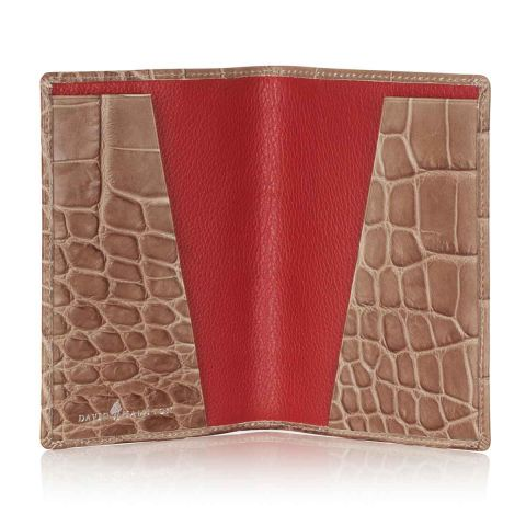 Serengeti croc leather passport holder open