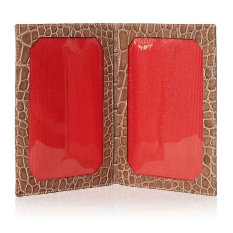 Serengeti croc leather travel photo frame open