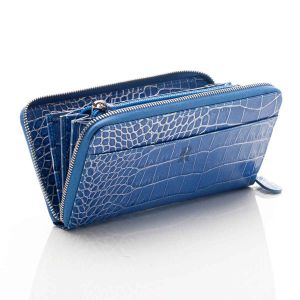 Blue Nile croco leather zip around wallet open