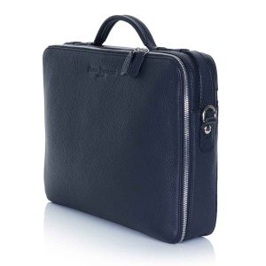 Richmond leather laptop briefcase side