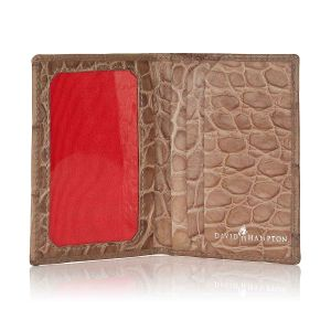 Serengeti croc leather travel card holder open