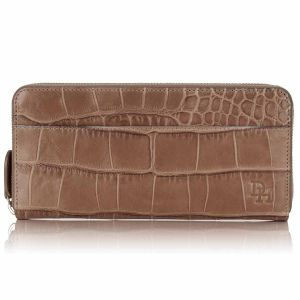Serengeti croc leather zip around wallet